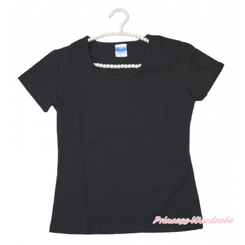Black Short Sleeves Top Plain Style Adult Unisex Family Tee Shirt TS31