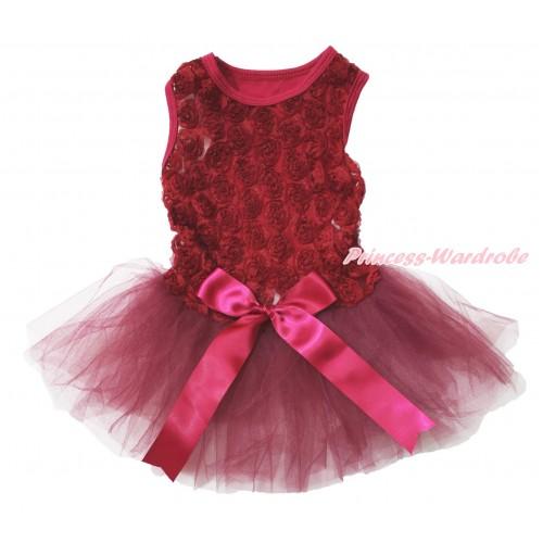 Valentine's Day Wine Red Romantic Rose Sleeveless Gauze Skirt & Bow Pet Dress DC182