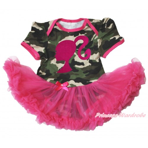 Camouflage Bodysuit Jumpsuit Hot Pink Pettiskirt & Hot Pink Barbie Princess Print JS3765
