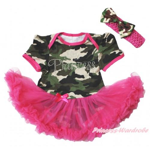Camouflage Bodysuit Jumpsuit Hot Pink Pettiskirt & Sparkle Rhinestone Princess Print & Hot Pink Headband Camouflage Satin Bow JS3795