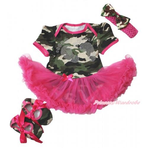 Camouflage Bodysuit Jumpsuit Hot Pink Pettiskirt & Sparkle rhinestone Foot Print & Hot Pink Headband Camouflage Satin Bow & Hot Pink Ribbon Camouflage Shoes JS3817