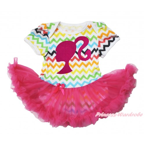 Easter Rainbow Chevron Wave Bodysuit Jumpsuit Hot Pink Pettiskirt & Hot Pink Barbie Princess Print JS3771