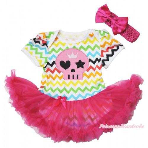 Easter Rainbow Chevron Wave Bodysuit Jumpsuit Hot Pink Pettiskirt & Halloween Pink Skull Print & Hot Pink Headband Hot Pink Satin Bow JS3801