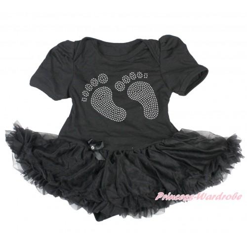 Black Bodysuit Jumpsuit Black Pettiskirt & Sparkle Rhinestone Foot JS3783