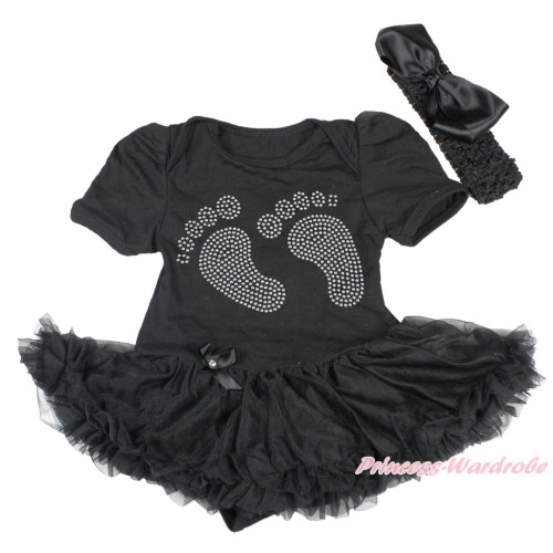 Black Bodysuit Jumpsuit Black Pettiskirt & Sparkle Rhinestone Foot & Black Headband Black Silk Bow JS3811