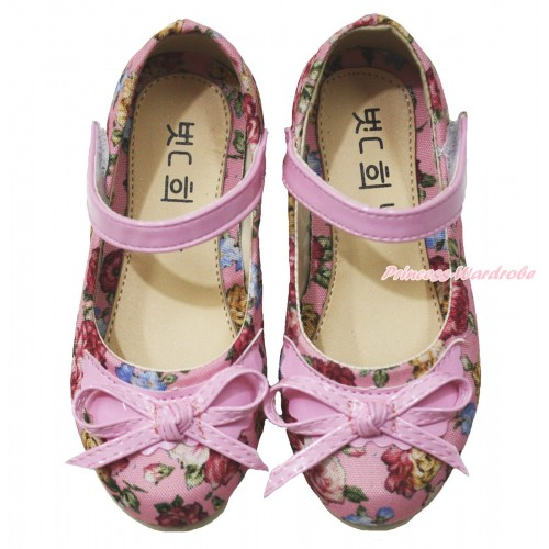 Light Pink Bow Summer Rainbow Flowers Slip On Kids Girl Mary Jane Shoes 008LightPink