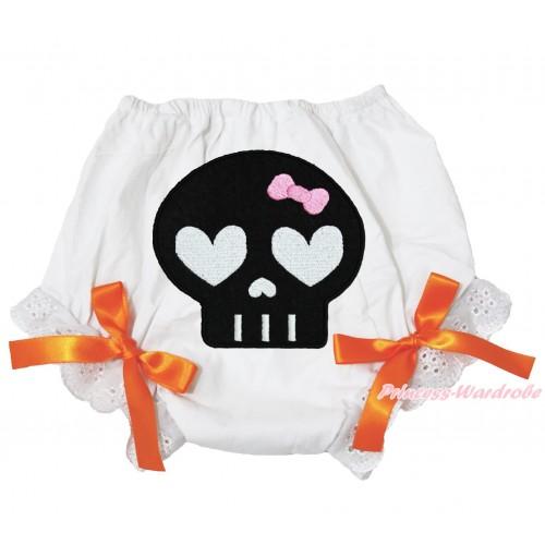 Halloween White Bloomer & Black Skeleton Print & Orange Bow BL123