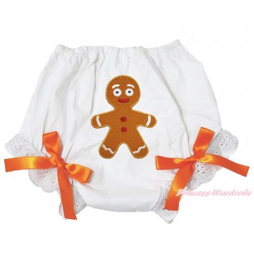 Xmas White Bloomer & Brown Gingerbread Print & Orange Bow BL125