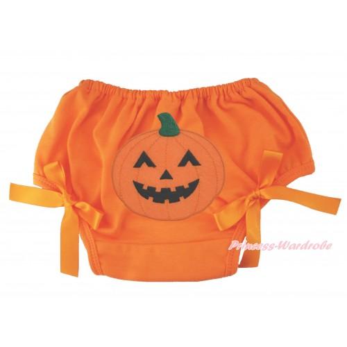 Halloween Orange Bloomer & Pumpkin Print & Orange Bow BL131