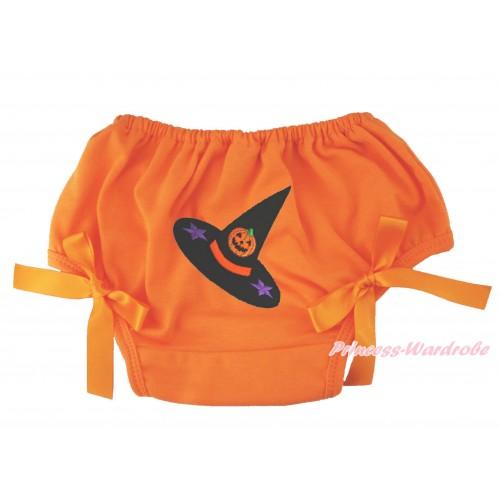 Halloween Orange Bloomer & Pumpkin Witch Hat Print & Orange Bow BL132