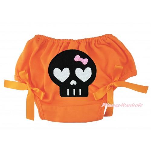 Halloween Orange Bloomer & Black Skeleton Print & Orange Bow BL133