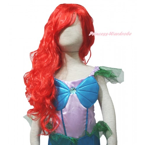 Mermaid Red Long Wave Hair Wig Halloween Party Costume C308