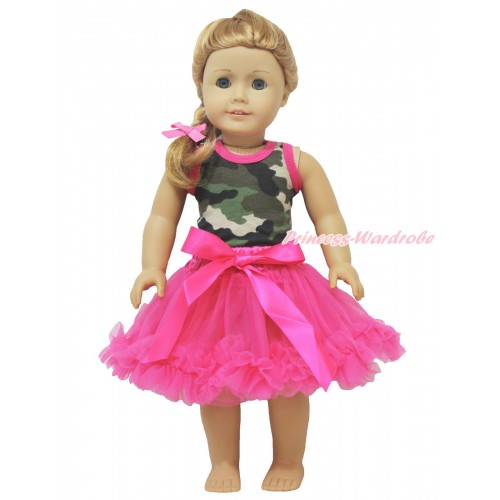 Camouflage Tank Top & Hot Pink Pettiskirt American Girl Doll Outfit DO019