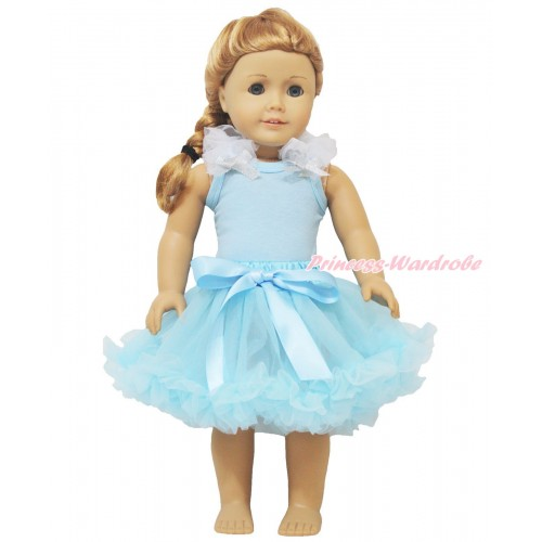 Light Blue Tank Top White Ruffles Sparkle Silver Grey Bow & Light Blue Pettiskirt American Girl Doll Outfit DO023
