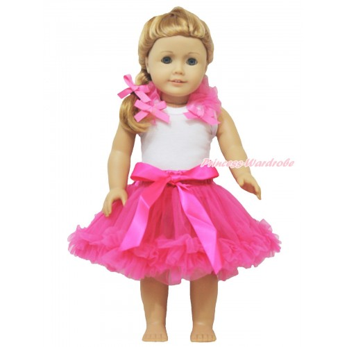 White Tank Top Hot Pink Ruffles & Bow & Hot Pink Pettiskirt American Girl Doll Outfit DO025