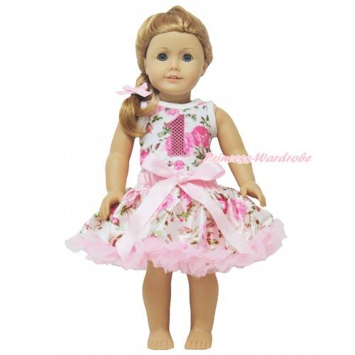 Rose Fusion Tank Top 1st Sparkle Light Pink Birthday Number & Light Pink Rose Pettiskirt American Girl Doll Outfit DO028