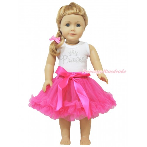 White Tank Top Sparkle Rhinestone Princess & Hot Pink Pettiskirt American Girl Doll Outfit DO033