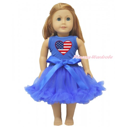 American's Birthday Royal BlueTank Top Patriotic American Heart & Royal Blue Pettiskirt American Girl Doll Outfit DO037