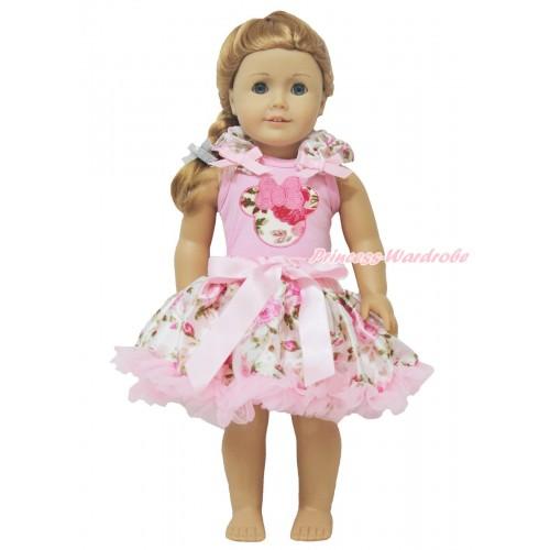Light Pink Tank Top Light Pink Rose Ruffles Light Pink Bows & Light Pink Rose Minnie & Light Pink Rose Pettiskirt American Girl Doll Outfit DO039