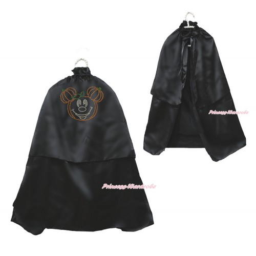 Halloween Black Sparkle Rhinestone Pumpkin Minnie Satin Cape Coat Costume SH83
