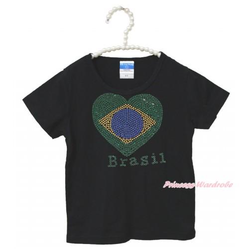 World Cup Black Short Sleeves Top Sparkle Rhinestone Brazil Heart Child Kids Unisex Family Tee Shirt TS35