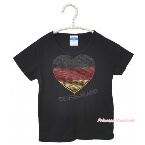 World Cup Black Short Sleeves Top Sparkle Rhinestone Germany Heart Child Kids Unisex Family Tee Shirt TS41