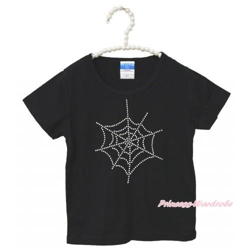 Halloween Black Short Sleeves Top Sparkle Rhinestone Spider Web Child Kids Unisex Family Tee Shirt TS42