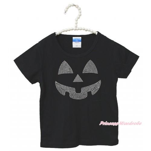 Halloween Black Short Sleeves Top Sparkle Rhinestone Pumpkin Face Child Kids Unisex Family Tee Shirt TS43