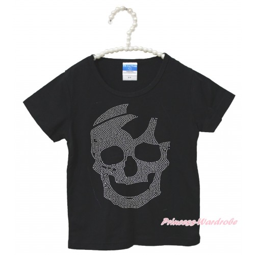 Halloween Black Short Sleeves Top Sparkle Rhinestone Skeleton Child Kids Unisex Family Tee Shirt TS44