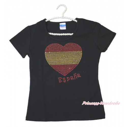 World Cup Black Short Sleeves Top Sparkle Rhinestone Spain Heart Adult Unisex Family Tee Shirt TS51