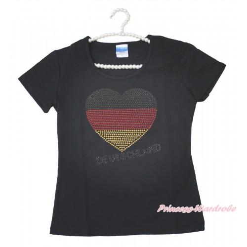 World Cup Black Short Sleeves Top Sparkle Rhinestone Germany Heart Adult Unisex Family Tee Shirt TS54