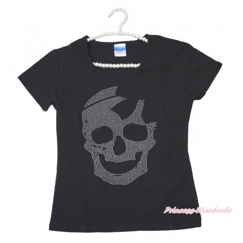 Halloween Black Short Sleeves Top Sparkle Rhinestone Skeleton Adult Unisex Family Tee Shirt TS57