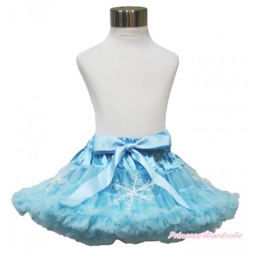 Frozen Elsa Snowflakes Light Blue Teen Full Pettiskirt XXL AP102