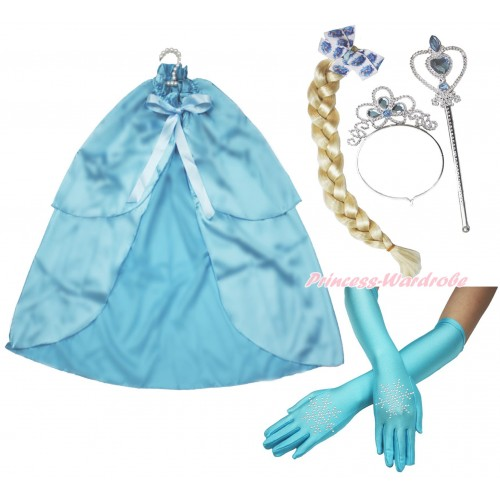Frozen Elsa Light Blue Satin Cape & Sparkle Rhinestone Snowflakes Elbow Length Gloves & Hair Dress Up Party Costume Set C312
