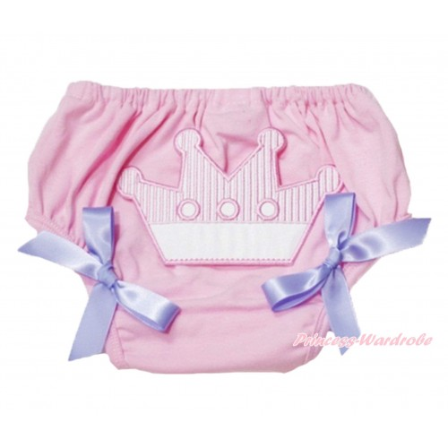 Sweet Crown Print Light Pink Panties Bloomers Lavender Bows LD43
