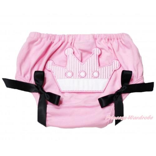 Sweet Crown Print Light Pink Panties Bloomers Black Bows LD46
