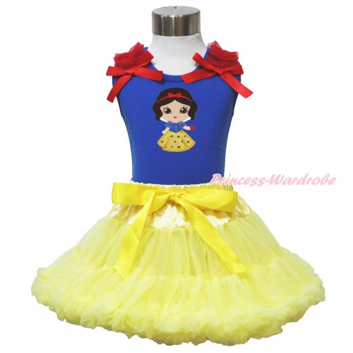 Royal Blue Tank Top Red Ruffles & Bow & Snow White Print & Yellow Pettiskirt MN126