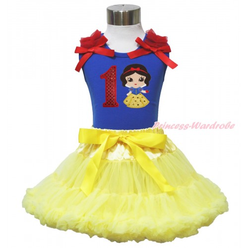 Royal Blue Tank Top Red Ruffles & Bow & 1st Sparkle Red Birthday Number Snow White Print & Yellow Pettiskirt MN127
