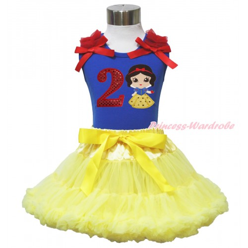 Royal Blue Tank Top Red Ruffles & Bow & 2nd Sparkle Red Birthday Number Snow White Print & Yellow Pettiskirt MN128