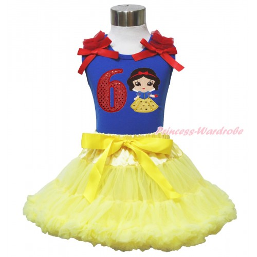 Royal Blue Tank Top Red Ruffles & Bow & 6th Sparkle Red Birthday Number Snow White Print & Yellow Pettiskirt MN132