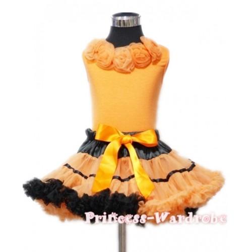 Black Orange Trim Pettiskirt with Orange Rosettes Orange Tank Top MN14