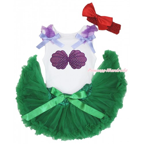 White Baby Pettitop Dark Purple Ruffles Lavender Bows & Mermaid Sea Shell Bra Print & Kelly Green Newborn Pettiskirt & Red Headband Silk Bow NG1563
