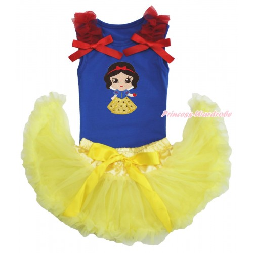 Royal Blue Baby Pettitop Red Ruffles & Bows & Snow White Print & Yellow Newborn Pettiskirt NG1570