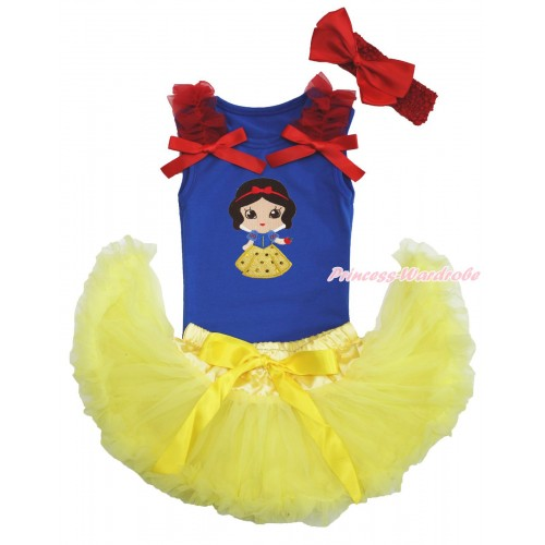 Royal Blue Baby Pettitop Red Ruffles & Bows & Snow White Print & Yellow Newborn Pettiskirt & Red Headband Silk Bow NG1573