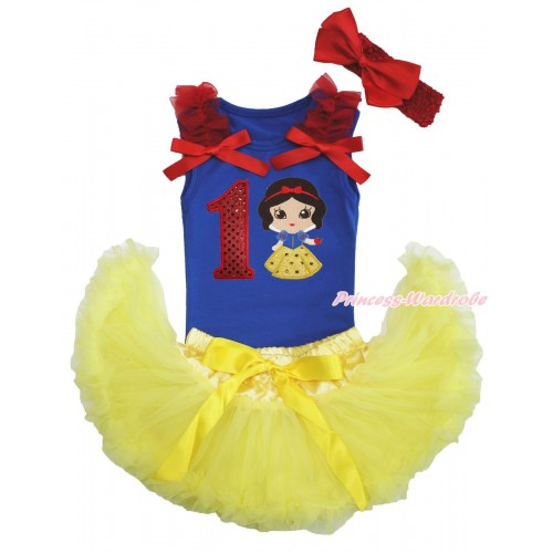 Royal Blue Baby Pettitop Red Ruffles & Bows & 1st Sparkle Red Birthday Number Snow White Print & Yellow Newborn Pettiskirt & Red Headband Silk Bow NG1574