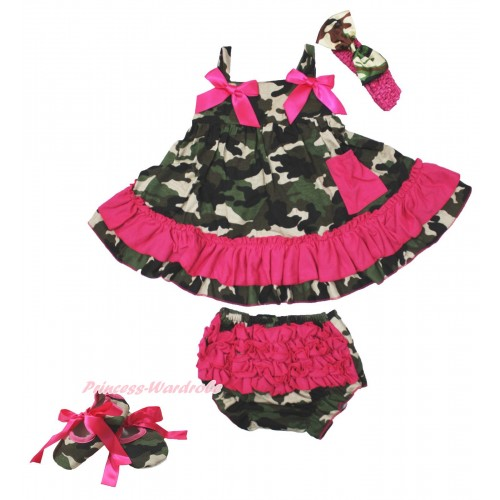 Hot Pink Camouflage Swing Top & Hot Pink Bow & Camouflage Panties Bloomers & Hot Pink Headband Camouflage Satin Bow & Hot Pink Ribbon Camouflage Shoes SP22