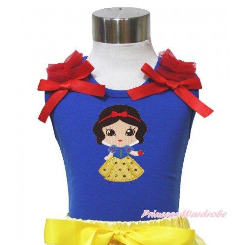 Royal Blue Tank Top Red Ruffles & Bows & Snow White Print T448