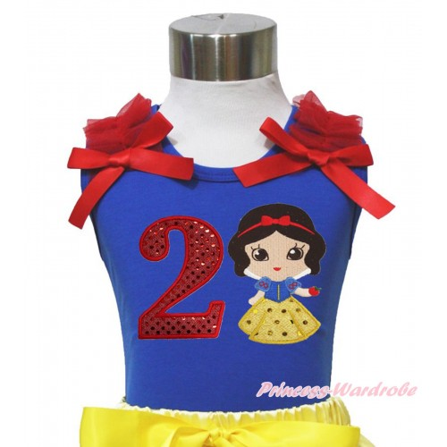 Royal Blue Tank Top Red Ruffles & Bows & 2nd Sparkle Red Birthday Number Snow White Print T450