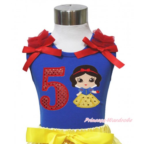 Royal Blue Tank Top Red Ruffles & Bows & 5th Sparkle Red Birthday Number Snow White Print T453