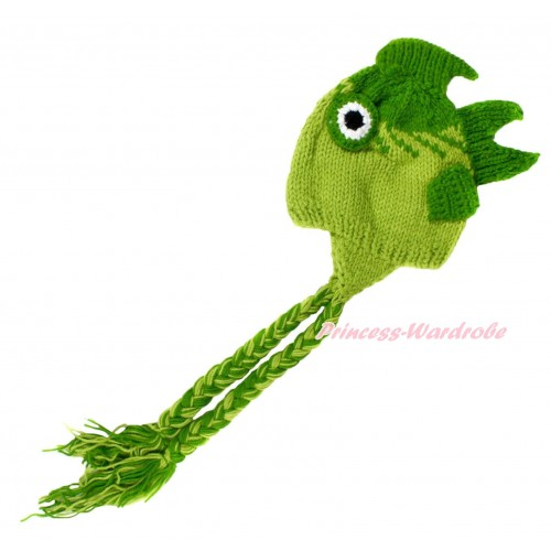 Dark Light Green Sea Fish Photo Prop Crochet Newborn Baby Custome C180